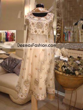 Latest Pakistani Fashion Beige Aline Frock