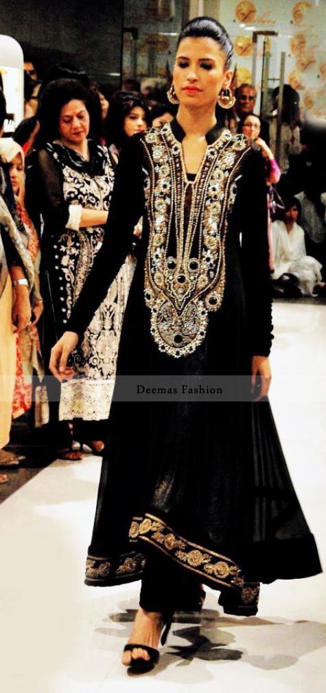 Light Brown Heavy Neckline Long Anarkali Dress
