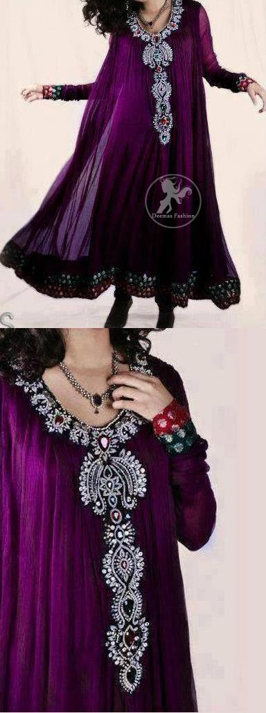 Magenta-Aline-frock-with-embellished-neckline