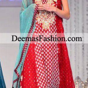 Pakistani Bridal Wear 2011 Red Ferozi Anarkali Dress