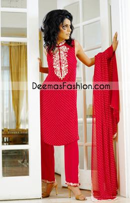 Pakistani Latest Casual Wear – Trendy Red Casual Dress