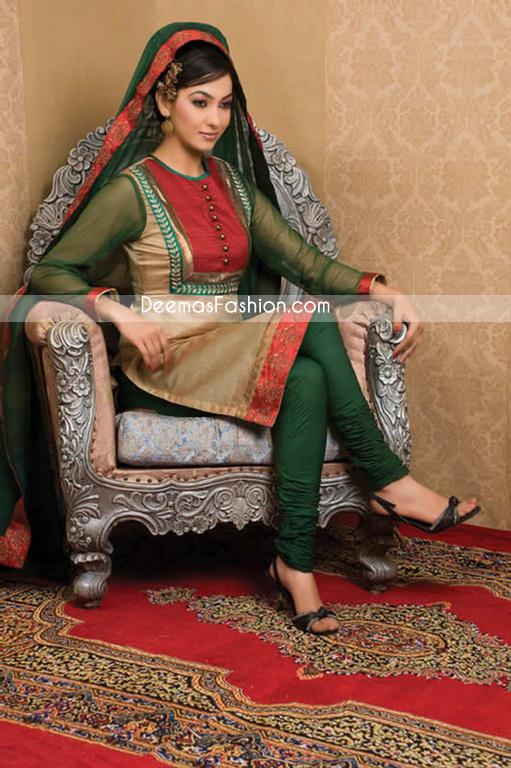 Pakistani Designer Clothes Dark Green Golden Dress