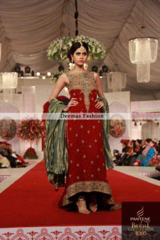 Pakistani Designer Dress Red Back Trail Dress