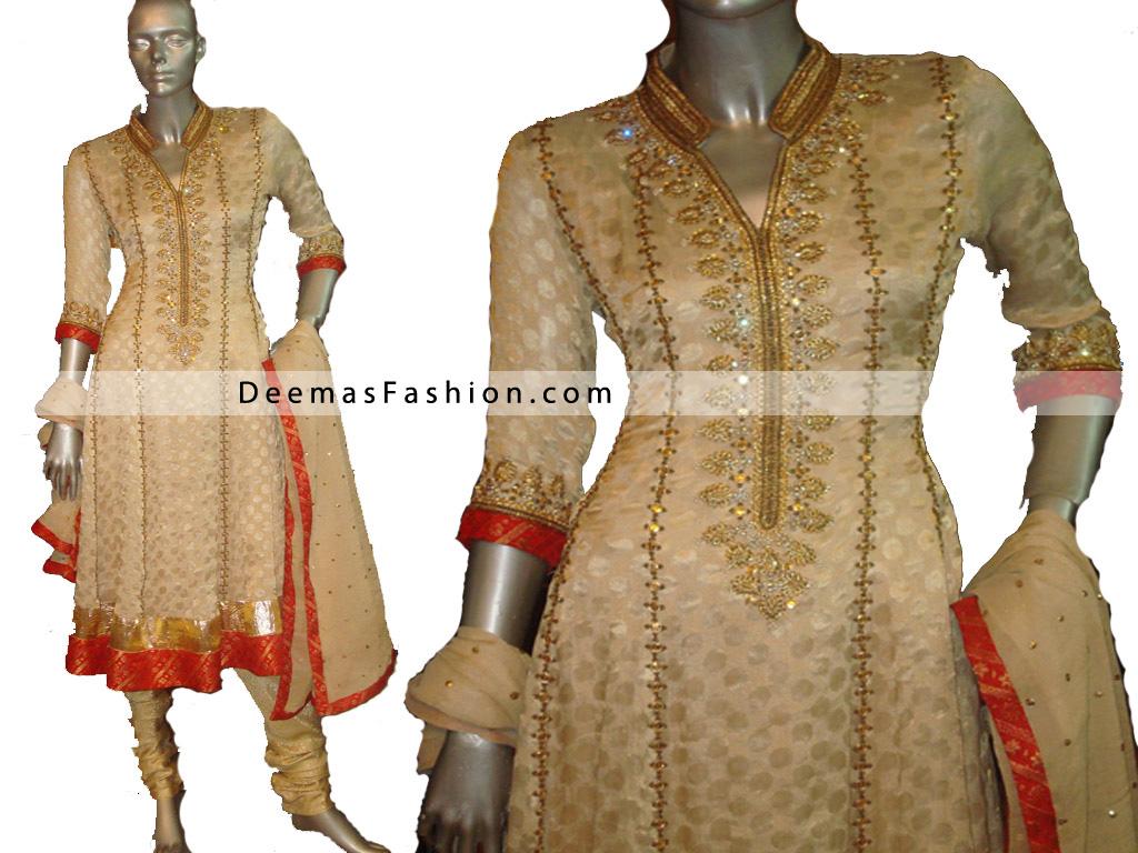Pakistani Designer Wear – Beige Red Anarkali Churidar Dress
