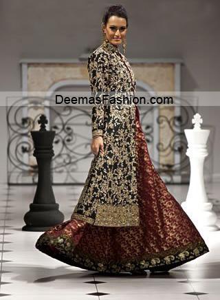Pakistani Designer Wear Bridal Dress – Maroon Black Sharara