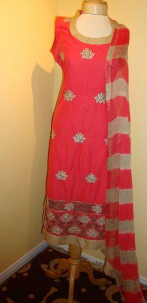 Pakistani Designer Wear Dress – Red Casual Dress