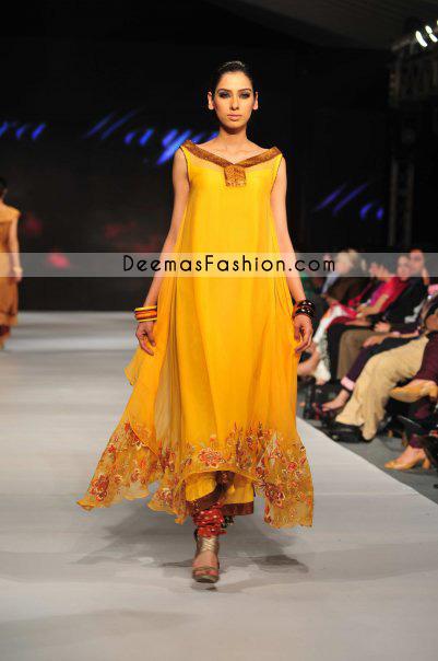 Pakistani Designer Wear – Golden Yellow Pishwas