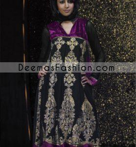 Latest Pakistani Fashion Dress - Black & Purple Anarkali Frock