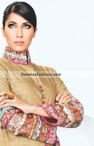 Pakistani Fashion Clothes Light Golden Embroidered Dress