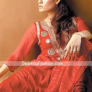 Pakistani Designer Wear - Red Anarkali Churidar Dress