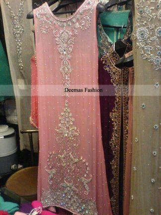 Pakistani Fromal Dress Light Pink Aline Dress