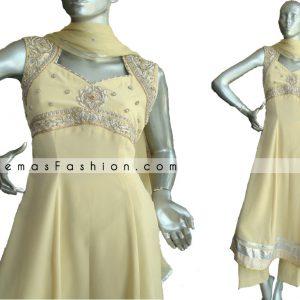 Pakistani Designer Wear - Yellow Anarkali Style Dress