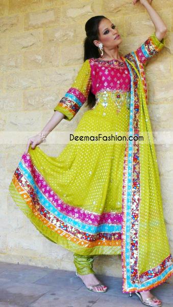 Tradition Pakistani Dress - Green Anarkali Style Frock Churidar