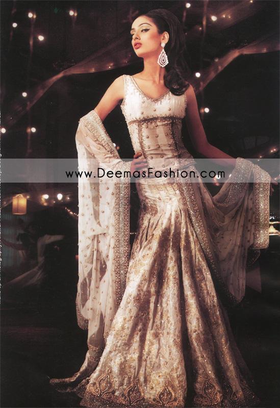 Pakistani Designer Wear Bridal Dress - White Embroidered Lehnga