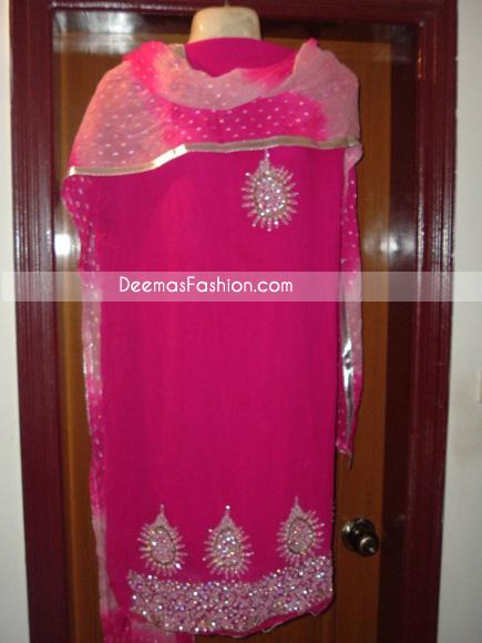 Pakistani Ladies Formal Wear – Shocking Pink Dress