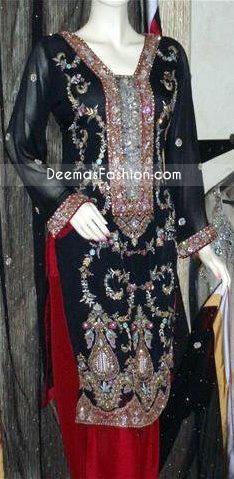 Pakistani Clothing Black – Red Tilla Work Dress