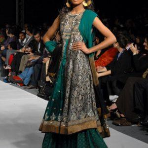 Latest Pakistani Bridal Turquoise Green Sharara Discount