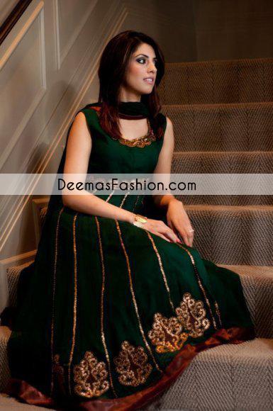 Bottle Green Casual Wear Anarkali Pishwas Churidar Dress