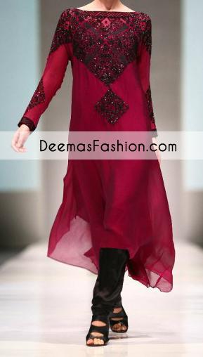 bright-maroon-casual-wear-aline-shirt-churidar1