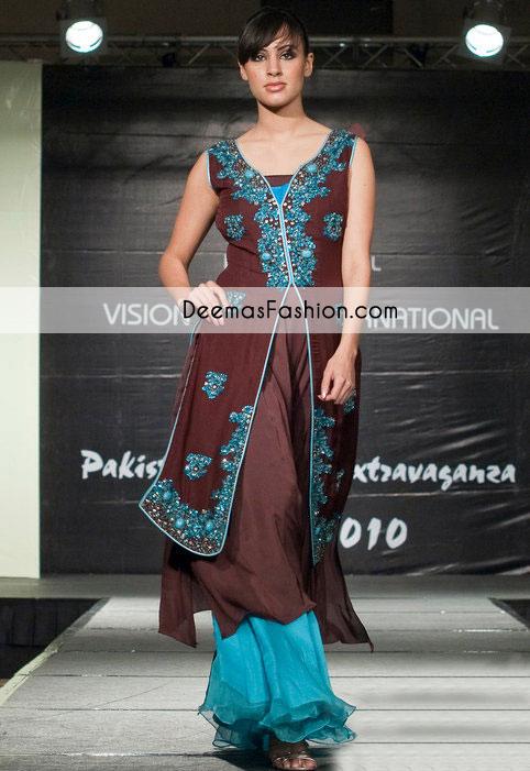 dark-brown-ferozi-party-wear-front-open-designer-dress1