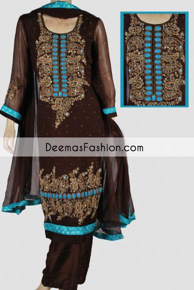 Dark Brown Formal Party Ear Designer Dress
