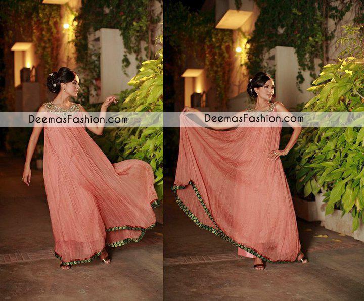 Dark Peach Casual Wear Anarkali Pishwas Dress