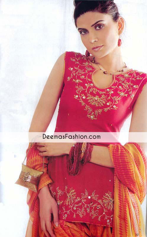 Dark Pink Short Casual Shirt with Patiyala Shalwar