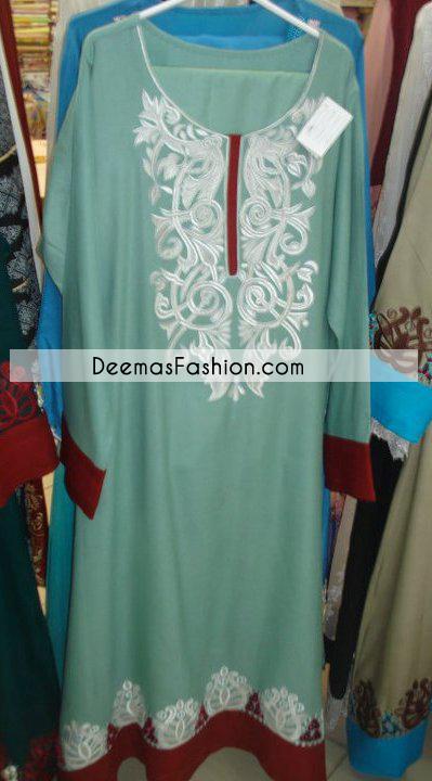ferozi-green-maroon-casual-aline-dress1