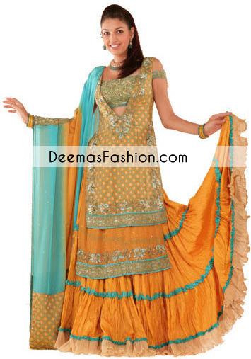 golden-yellow-ferozi-double-layer-shirt-mehndi-wear-lehnga1