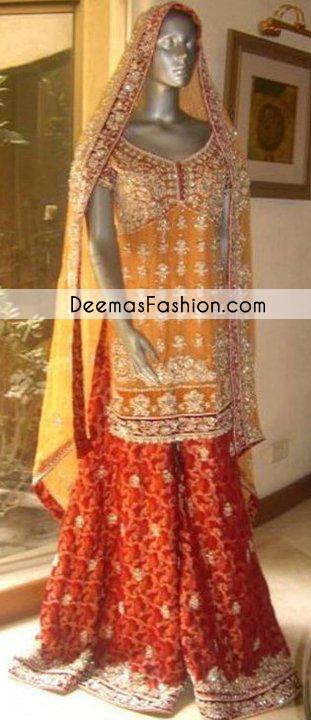 Golden Yellow Red Bridal Mehndi Wear Sharara
