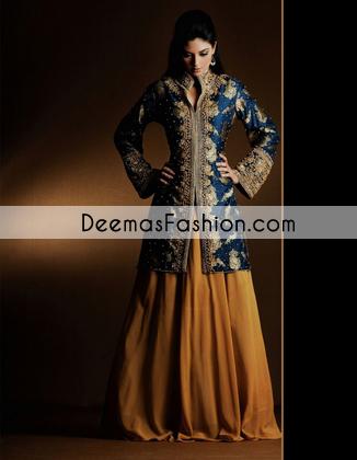 golden-yellow-royal-blue-bridal-mehndi-wear-sharara1