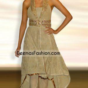Indian Designer Wear - Beige Embroidered Anarkali Dress