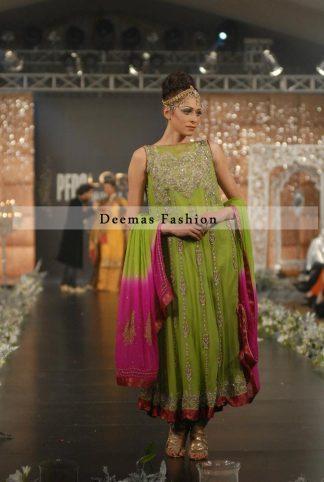 Green Colour Mehndi Wear Anarkali with Pink Dupatta