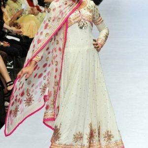 Latest Designer Wear - White & Pink Pishwas