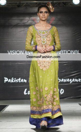 Latest Bridal Mehndi Wear Mehendi Green Royal Blue Party Dress