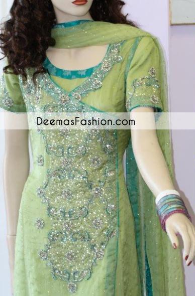 Light Dark Green Angrakha Style Aline Shirt Churidar