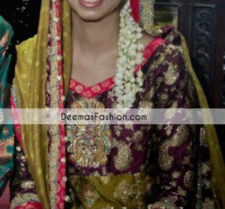 Mehndi Green Gark Purple Bridal Frock Churidar