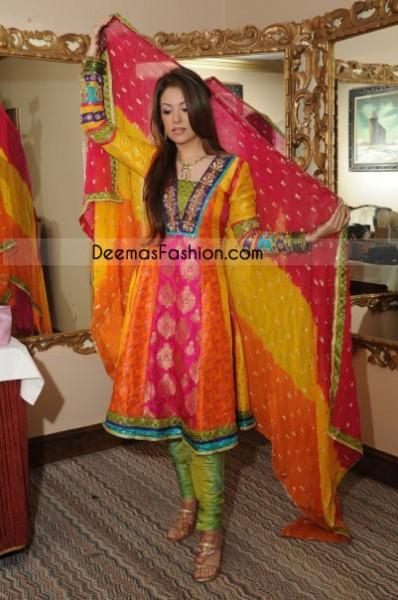 Mehndi Wear Multi Color Pure Jamawar Frock