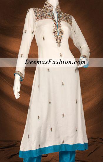 Off White Ferozi Aline Shirt Churidar