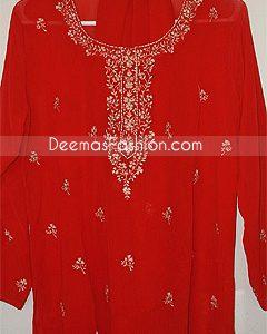 Red Georgette Pakistani Shalwar Kameez Dress