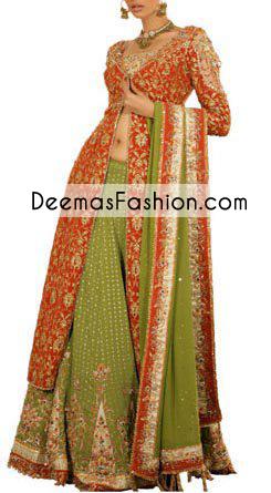 red-mehndi-green-bridal-lehnga1