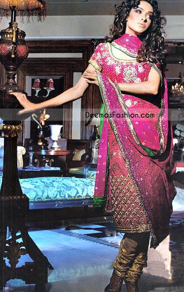 Shocking Pink & Golden Banarsi Jamavar