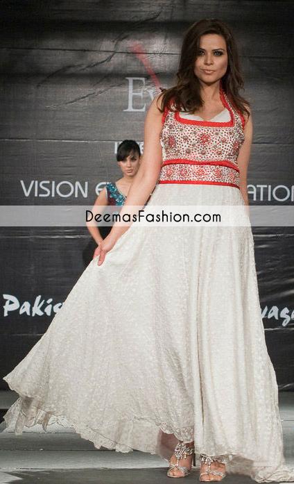 White Casual Wear Aline Anarkali Pishwas