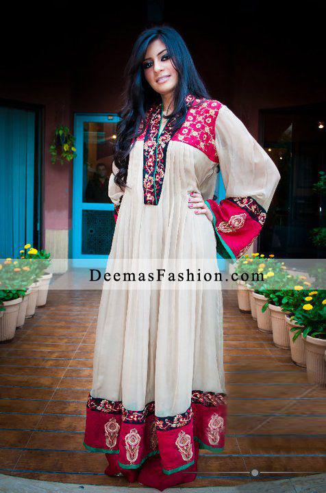 White Red Anarkali Pishwas Churidar