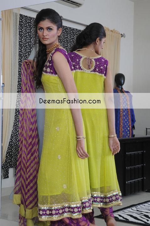 Yellow Purple Aline Anarkali Frock Churidar
